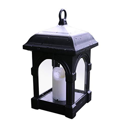 ,Solarlaterne mit Kerzen Lichteffekt, Solarlampe für Außen Gartendeko Solar Gartenlaterne in Kerzenoptik zum Aufhängen, Warmgelber Licht Dekorieren Weihnachten (Schwarz) ()