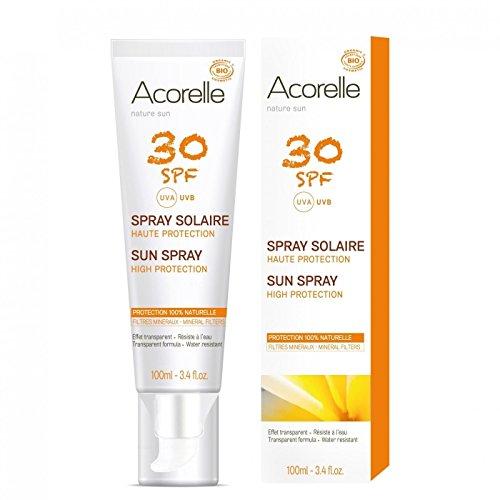 Acorelle - Spray Solaire SPF 30 - Haute protection UV, 100% naturelle, pour tous les types de peau - Résiste à l'eau - Sans filtre chimique ni zinc - Sans nanoparticules