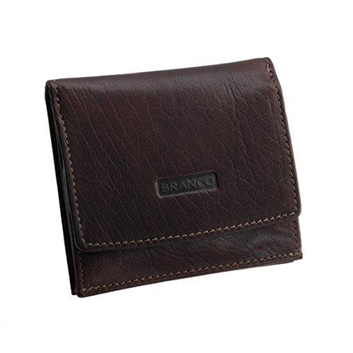 Wiener-Schachtel von BRANCO Herren-Geldbörse Leder-Brieftasche Geldbeutel Münzbörse Kombibörse Portemonnaie echt Leder ( BRAUN ) - präsentiert von ZMOKA®