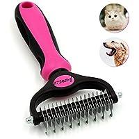 Jaswell Pet Grooming Tool Peine para perros y gatos 2 caras rastrillo para pelar fácilmente esteras y eliminar enredos (rosa)