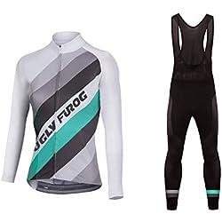 Uglyfrog Bike Wear Maillot Conjunto Mangas Largas Pantalones Largos de Ciclismo para Mujer Ropa Maillot Invierno Thermal Fleece para Deportes al Aire Libre Ciclo Bicicleta Set