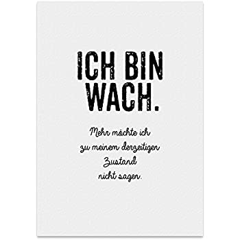 Kunstdruck, Poster mit Spruch – ICH Bin WACH – Typografie