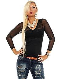 10126 Fashion4Young Damen T-Shirt Langarm Shirt Spitze Pullover Damenshirt  V-Ausschnitt 777f4c3e73