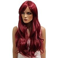 PRETTY SHOP unisex parrucca capelli lunghi fibra sintetica resistente al calore rosso WLR9