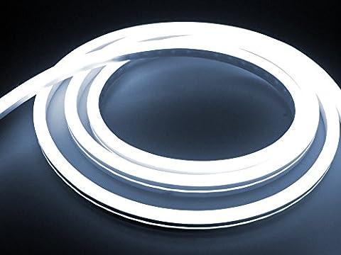 LEDU NeonFlex Pro230 kaltweiß (Länge: 6m, 230V LED-Streifen, Neon-Flex LED-Stripe ohne Lichtpunkte, durchgängig leuchtend, für innen und außen, 9W/m, EEK: A, Anschluss: Eurostecker)
