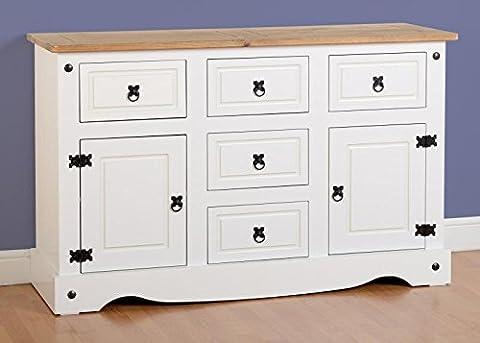Mercer's Furniture Corona Buffet 2portes 5tiroirs en pin ciré effet vieilli
