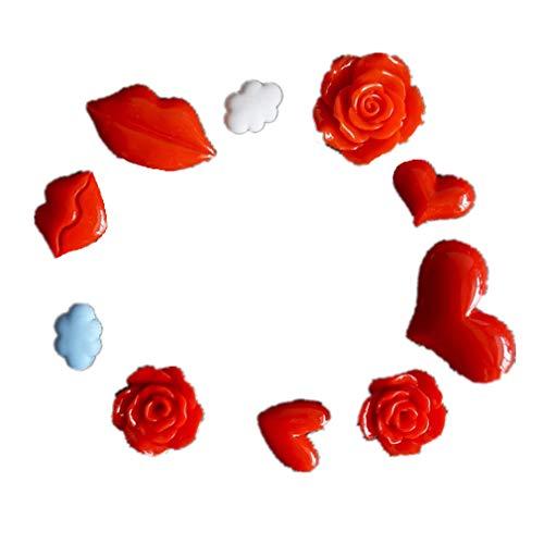 Bella 10pcs Mini Magnet Frigo Aimant Frigo Aimant Réfrigérateur Fridge Magnet Coeur Rose Lèvres Nuages Décorations pour Mariage Charmant Sticker Décor Coffret Cadeau