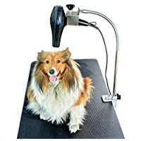 HAOCHIDIAN Grooming Table Hair Dryer Stand Holder Hands-free Stainless Storage Rack Adjustable Mobile Grooming Table Stand Suitable for Dog Cat Pet Silver