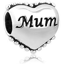 Uniqueen Cuenta en forma de corazón con dedicatoria para madre, compatible con Pandora