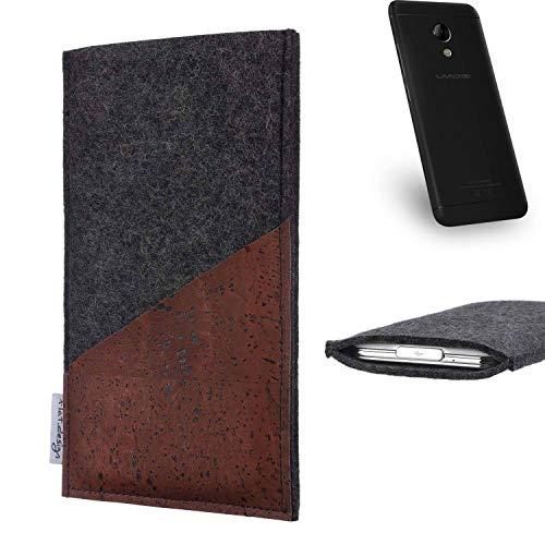 flat.design Handy Hülle Evora für UMIDIGI C2 handgefertigte Handytasche Kork Filz Tasche Case fair dunkelgrau