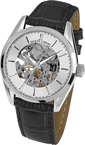 b8b05ab48fac Jacques Lemans Reloj Esqueleto para Mujer de Automático con Correa en Cuero  1-1909A