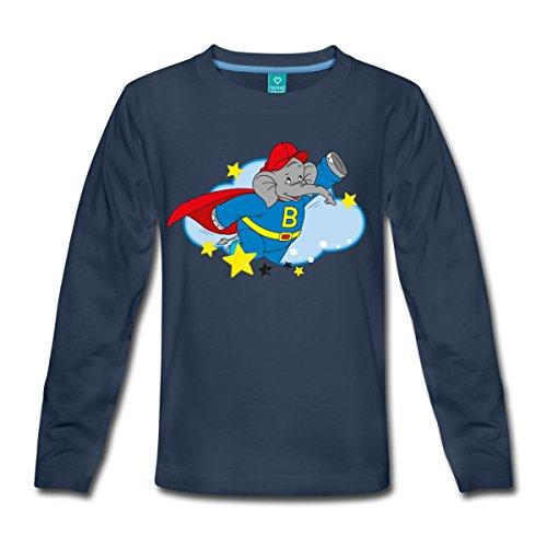 Blümchen Superheld Beni mit Cape Kinder Langarmshirt, 134/140 (8 Jahre), Navy (Jungen-t-shirt Mit Cape)