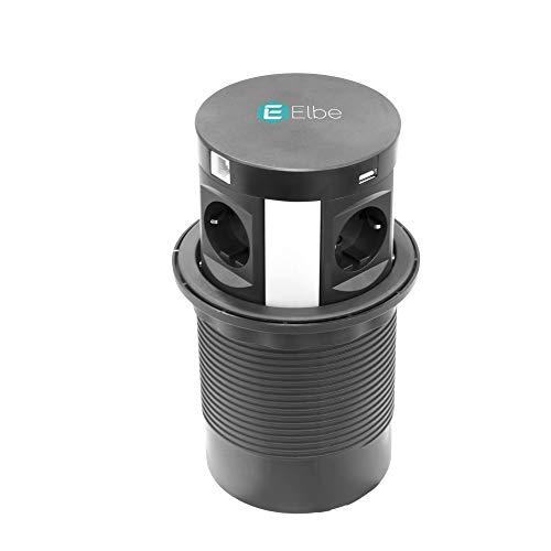 Elbe Bloc Multiprise Encastrable Multifonctionnelle - Chargeur Sans Fil + 4  Prises + 2 USB + 287c6291700b