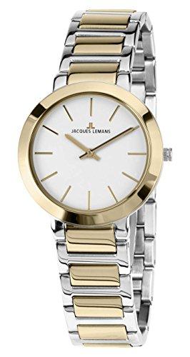 Jacques Lemans Damen Analog Quarz Uhr mit Edelstahl Armband 1-1842D