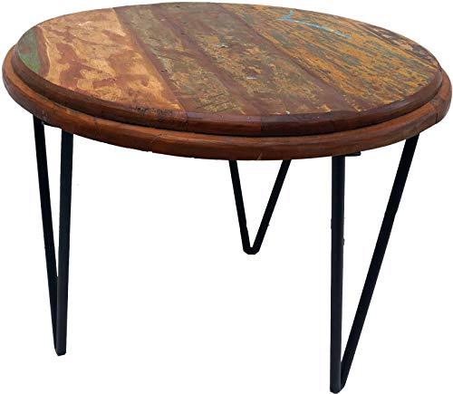 Guru-Shop Table D`appoint, Table Basse Ronde Avec Pieds Métalliques - Modèle 5, Marron, 50x62x62 cm, Tables Basses Tables de sol