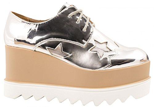 Elara Damen Plateau Schuhe | Metallic High Halbschuhe | Schnürer Profilsohle Silber Profil
