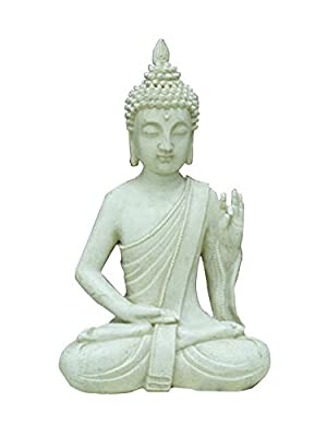 Evre Sitting Buddha for In/Outdoors with Sandstone Effect - Height 32cm