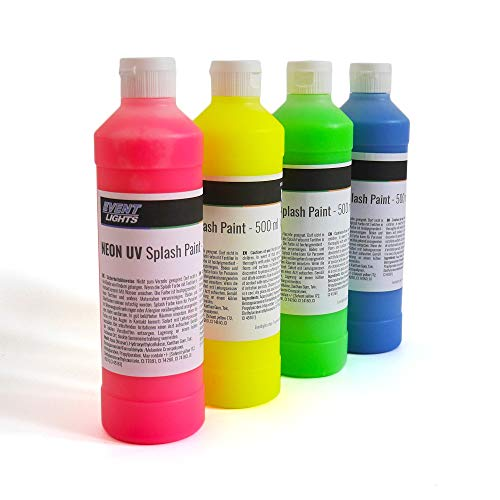 NEON UV Splash Paint 4 x 500 ml - Schwarzlicht - Splash Party - Spritz Farben - La Splash