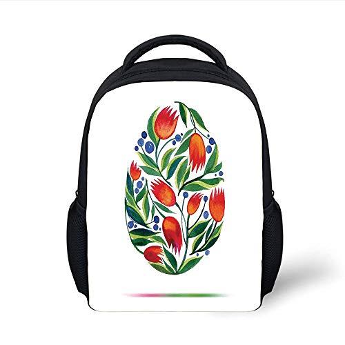 Kids School Backpack Watercolor Flower,Easter Egg with Tulip Flowers Paint in Retro Style Nostalgic Pastel Color,White Green Red Plain Bookbag Travel Daypack