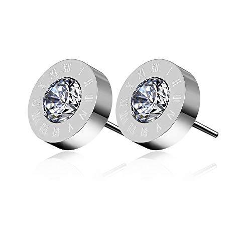 Numeri romani acciaio orecchini con cristalli Swarovski Elements e Argento, colore: Silver, cod. RomanSteelEarringsSilver