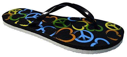 Octave® - Infradito da donna per l'estate e la spiaggia, diversi stili e colori Peace Design - Black