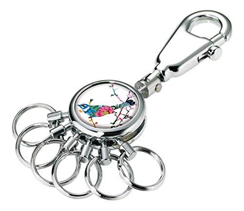 TROIKA BIRDIE SCHLÜSSELHALTER - #KYR01-A117 - rund, glänzend - Schlüsselanhänger - Karabinerhaken - 6 ausklinkbare Ringe - Schlüsselorganisation - filigranes Design - TROIKA-ORIGINAL -