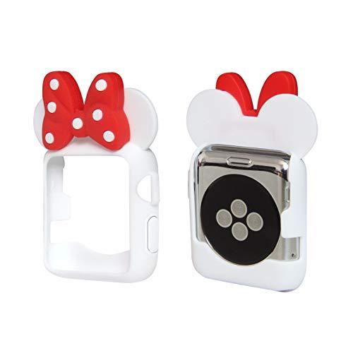 Tech Express Schutzhülle für Apple Watch [iWatch] 38mm & 42mm Serie 1, 2 & 3 Bunte Flexible TPU Schutzhülle Zubehör, 42 mm, weiß
