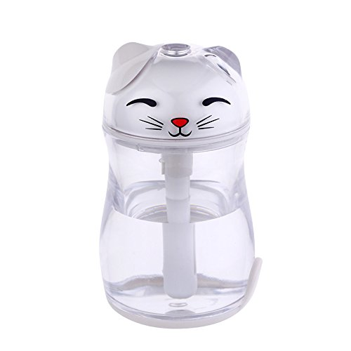 JA Glückliche Katze Luftbefeuchter Mini Nachtlicht Usb Mute Reinigung Home Office Zerstäuber Luftreiniger,Weiß,Einheitsgröße