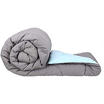Clasiko Reversible Single Bed Big Comforter/Warm for Winters; Color - Glowing Grey & Ablaze Aqua; Fabric - Micro Cotton; 300 GSM; Size - 150x230 Cms; Color Fastness Guarantee