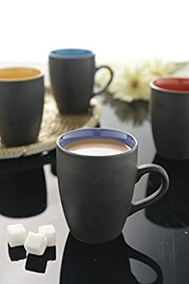 Black Matt Finish Multicolor Large Coffee Mugs - Set of 4