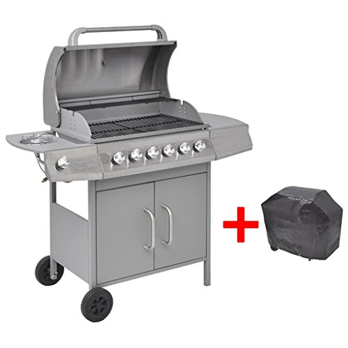 41aqRZj51hL. SS500  - yorten Gas Barbecue Grill 6+1 Cooking Zone Silver