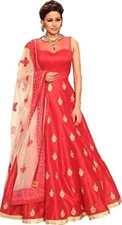 Sanjana New Attective Red-White Banglori Anarkali Style Gowan Dress Material