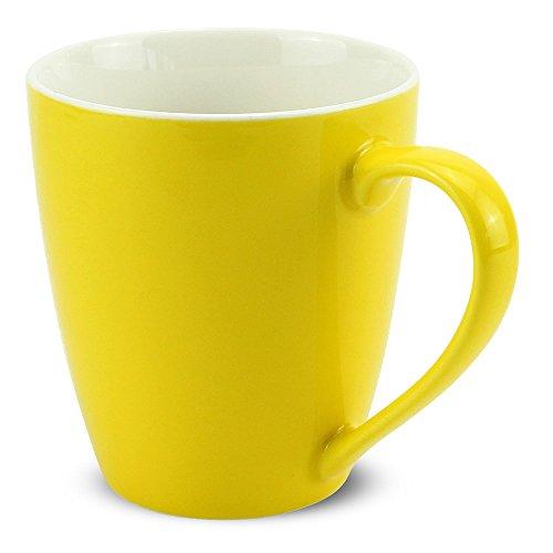 matches21 Tasse Becher Kaffeetassen Kaffeebecher Unifarben/einfarbig gelb Porzellan 8 Stk. 10 cm / 350 ml