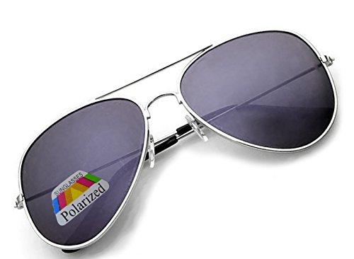 4sold Jungen Polarized Sonnenbrille Kids in vielen Farbkombinationen Klassische Unisex Sonnenbrille (Silver Black Polarized)