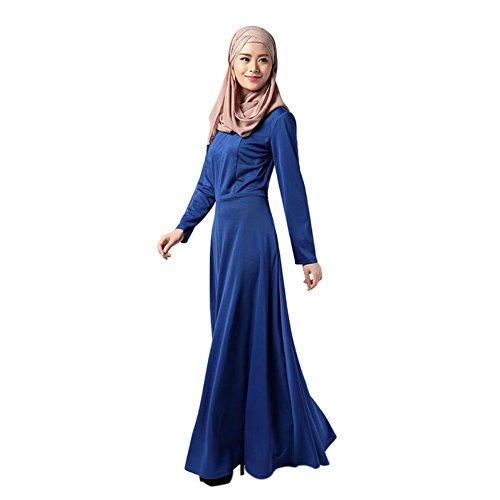 Meijunter Musulman Femme Abaya Dress Islamic Manche longue Coton Maxi Dress Vêtements Robes blue