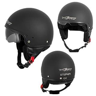 A-Pro Motorradhelm Motorrad Roller Jet Helm Innensonnenblende Viser Matt Schwarz 2XL