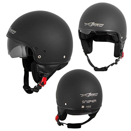Motorradhelm Motorrad Roller Jet Helm Innensonnenblende Viser Matt Schwarz L