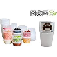 superior ZRL Recipientes de plástico para microondas y congelador, redondos, sin fugas, para guardar alimentos, plástico, 24oz - 710ml