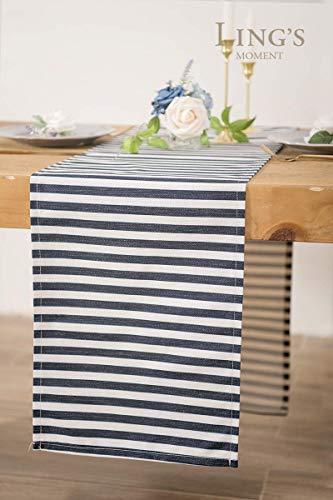 LXD Haushalt Maschine waschbar Zebra Muster schwarz und Creme Streifen, Küche Dekor Thanksgiving Weihnachten Bauernhaus Dekoration Sackleinen Tischläufer 12 X 72 Zoll