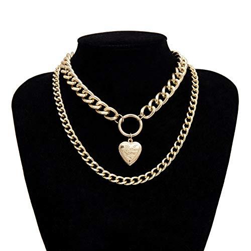 ZUXIANWANG Halskette Punk Halsband Halskette Dicke goldene Kette Silber Zwei Herz Anhänger mit Halskette Frauen Schmuck, EIN