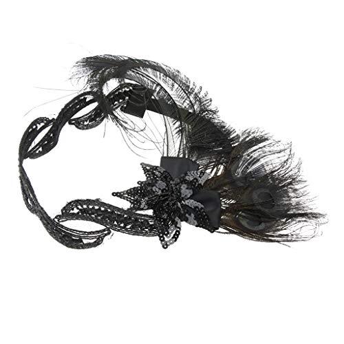 Baoblaze 1920er Jahre Flappers Stirnband Damen Retro Strass Federn Haarband Kopfbedeckung Gatsby Accessoires