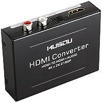 Extracteur HDMI Audio 4K x 2K, Musou Convertisseur HDMI vers HDMI Vidéo Extractor Audio SPDIF/Optique RCA(L/R) Stéréo 3D pour PS3 XBox HD DVD PS4 Sky HD Blu-ray Home Ciném