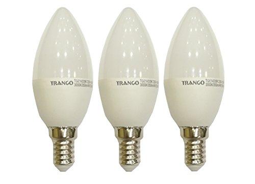 3x Trango E14 LED Candle Kerze Leuchtmittel 4,0W – 350 Lumen – Warm-Weiß – 180º Abstrahlwinkel direkt 230V TGE14035K