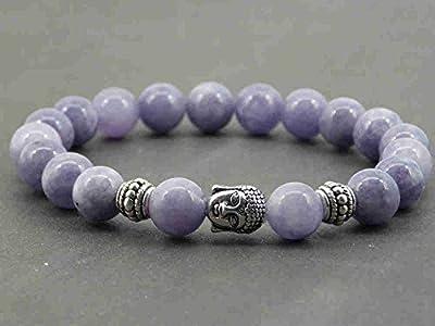Bracelet pour homme Thurcolas ethnique Zen en perles en Quartz Bleu et Bouddha en métal argenté