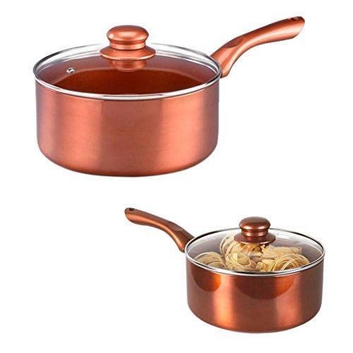 14cm 18cm Copper Pan Saucepan Non Stick Aluminium Induction Ceramic Cookware (18cm with Glass Lid)