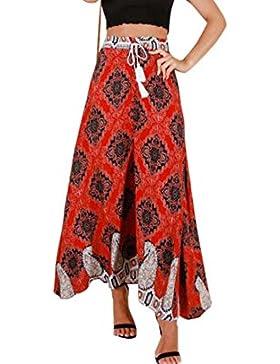 Falda estampada Floral de gasa de las mujeres Falda Maxi Vestido de mujer vestido de cintura alta elástico de...