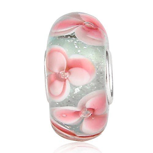 Lume in vetro di murano charm in argento sterling 925con ciondolo a forma di fiore ciondolo a forma di foglia anniversary charm per braccialetti pandora a