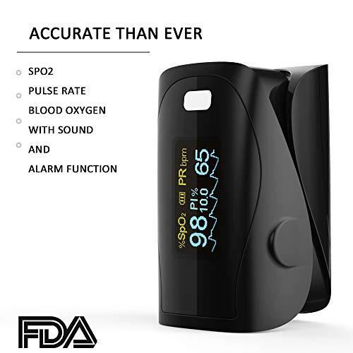 Saturimetro Da Dito- Monitor Di Saturazione Di Ossigeno Nel Sangue PRCMISEMED Con Cordino, Schermo LCD HD e Spegnimento Automatico,Fit For Your Health (Nero)