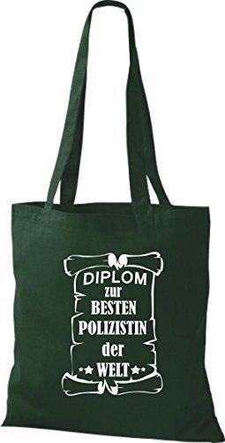 Shirtstown Stoffbeutel Diplom zur besten Polizistin der Welt Grün