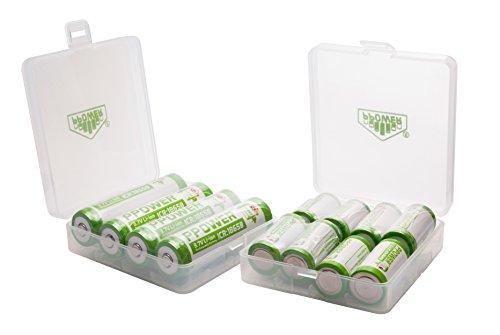 2 x 4SLOTS Ppower batteria box, scatola portaoggetti, per 8 X 18650, 16 x16340, 17500, 17650, custodia con batteria (batterie non incluse) p-power